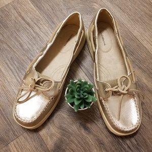 Croft &Barrow golden slip on loafers